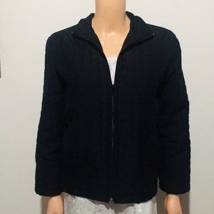 Lily Pulitzer Black quilted zip-up jacket (M)